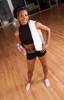 Drinking Water After Working Out Stock Photo