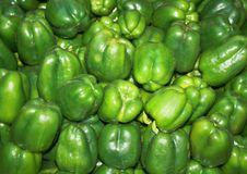 Group Of Green Paprika Bell Peppers In Market Stock Photos