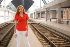 Free Blond Girl In Red Blouse Outdoors Stock Photography - 9229072