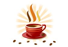 Free Aromatic Fresh Cup Of Coffee Over White Stock Photography - 9229752