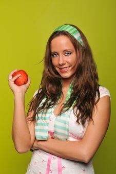 Free Brunette Holding Apple Stock Image - 9229951