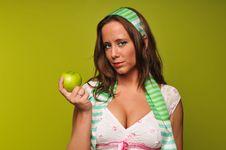 Free Brunette Holding Apple Stock Images - 9229964