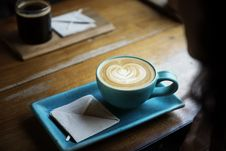 Free Cup Of Coffee In Stylish Rectangular Saucer  Royalty Free Stock Photography - 92238817
