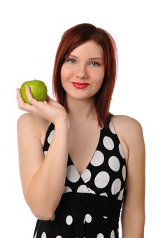 Young Woman Holding An Apple Royalty Free Stock Photo