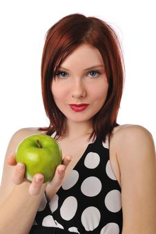 Young Woman Holding An Apple Stock Photography