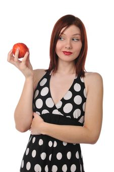Free Redhead Woman With Red Apple Stock Photo - 9230330