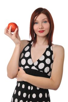 Free Redhead Woman With Red Apple Royalty Free Stock Photos - 9230338