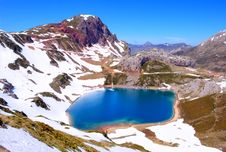 Free Lake Of High Mountain, Former Glacier. Royalty Free Stock Images - 9230389