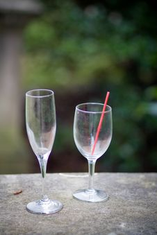 Free Two Empty Glasses - Wine And Champagne Stock Photography - 9230902