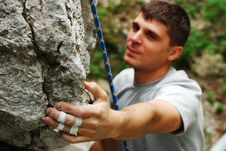 Free Climber Portrait In Action Stock Images - 9230974