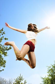 Free Sexy Dancer Jumping Stock Photography - 9231902