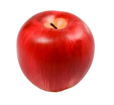 Candle Looking Like Apple Isolated Stock Photo