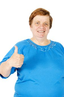 Free Elderly Woman Is Putting Her Thumb Up On White Stock Photo - 9235540