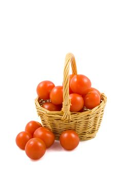 Free Cherry Berr Ytomatoes In A Wicket Isolated Stock Image - 9236031