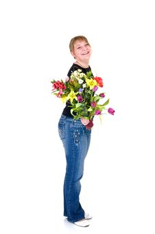 Free Happy Smiling Young Girl Presenting Flowers Stock Photos - 9236653