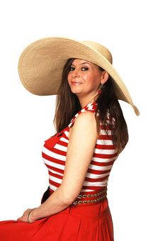 Woman In Red Dress And Hat. Royalty Free Stock Images