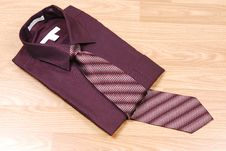 Burgundy Dress Shirt With Tie. Royalty Free Stock Images