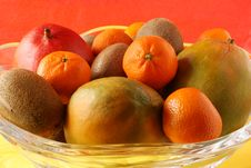 Tropical Fruit Bowl Closeup Royalty Free Stock Photos