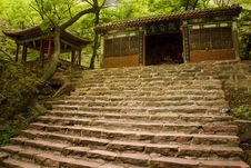 Stairs Leading Up To A Temple In The Woods Royalty Free Stock Images