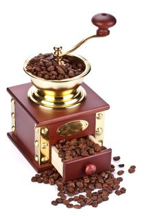 Coffee Mill And Coffee Beans Stock Photos