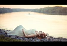 Free Woman Lying On Shore Stock Image - 92330601