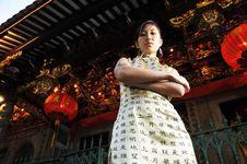 Beautiful Asian Woman In Oriental Theme. Royalty Free Stock Photo