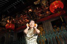 Beautiful Asian Woman In Oriental Theme Stock Image