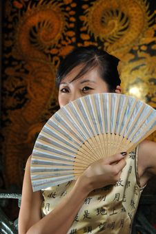 Beautiful Asian Woman In Oriental Theme Royalty Free Stock Photography