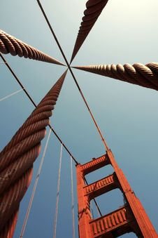 Free A Pillar With Steel Cables Of Golden Gate Bridge Stock Image - 9241181
