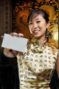 Free Beautiful Asian Woman Holding A Name Card. Stock Photography - 9241352