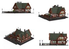 Free Block Of Four Medieval Houses Royalty Free Stock Photos - 9241768