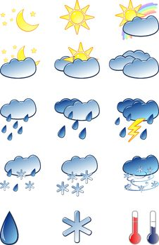 Free Weather Icons Set Royalty Free Stock Photography - 9242527