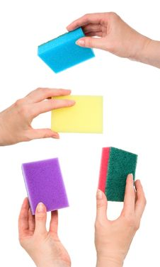 Free Set Of Female Hands With Kitchen Sponges Stock Image - 9242731