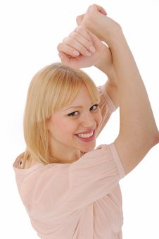 Girl Dancing And Smiling Friendly Royalty Free Stock Photography