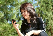 The Girl With Phone Stock Photography