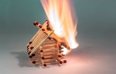 Free Burning Match House Stock Photography - 92460282