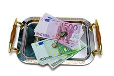 Euro Bank Notes On A Metal Tray Royalty Free Stock Photo