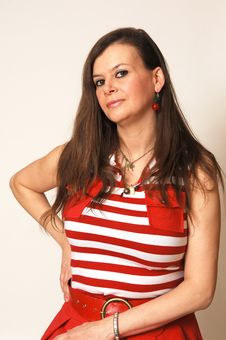 Woman In Red Dress. Stock Images