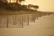 Erosion Fence On Deserted Beach Royalty Free Stock Photography