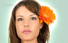 Beautiful Portrait Of A Sexy Woman With   Flower Royalty Free Stock Photography