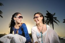 Free Girls On Tropical Vacation Royalty Free Stock Image - 9251516