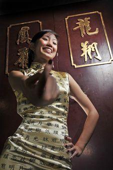 Beautiful Asian Woman In Oriental Theme Stock Photography