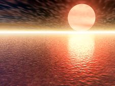 Free Red 3d Sunset Stock Image - 9254501