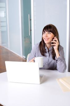 Free Business Woman On A Cell Phone Stock Image - 9255461