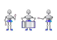 Free Three Funky Robots Royalty Free Stock Images - 9255619
