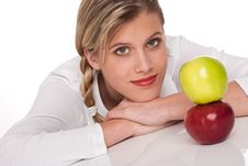 Free Healthy Lifestyle Series - Woman With Two Apples Royalty Free Stock Photos - 9255748