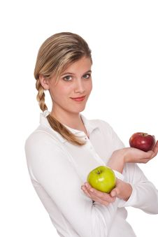 Free Healthy Lifestyle Series - Woman Holding Apples Stock Photos - 9255753