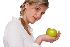 Free Healthy Lifestyle Series - Woman Holding Apple Royalty Free Stock Photos - 9255758