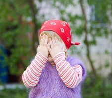 Little Girl Hiding Stock Photos