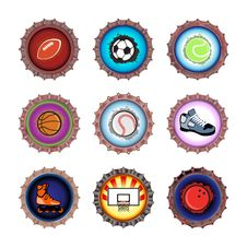 Free Bottle Caps Set-sport Royalty Free Stock Photos - 9256218